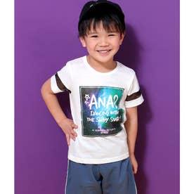 【KIDS】 メッシュライン宇宙柄プリントTシャツ (ホワイト(001))