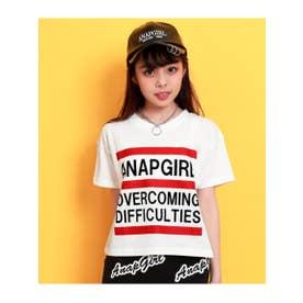 【ANAPGiRL】クロップド丈3ラインTシャツ (ホワイト(001))
