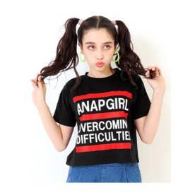 【ANAPGiRL】クロップド丈3ラインTシャツ (ブラック(027))