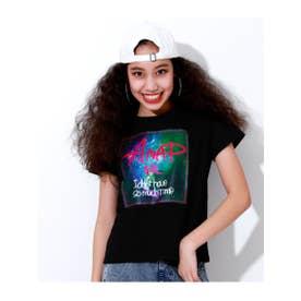 【ANAPGiRL】宇宙柄BOXプリントTシャツ (ブラック(027))