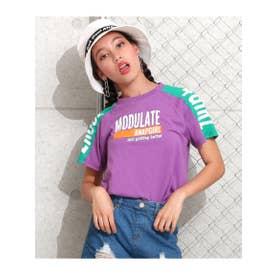 【ANAPGiRL】袖配色ロゴTシャツ (パープル(022))