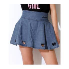 【ANAPGiRL】ハートアキフレアスカートインパンツ付スカート (ブルー(019))
