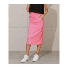 シンプルリブナロースカート(ピンク)