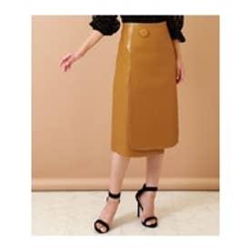 エコレザー1ボタンデザインスカート マスタード