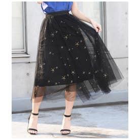 星刺繍チュールスカート ブラック