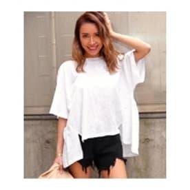BACKギャザースラブゆるTシャツ ホワイト