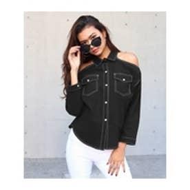オープンショルダーカラーステッチシャツ ブラック