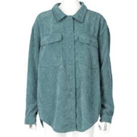 ソフトコーデュロイオーバーサイズシャツ(ターコイズ)
