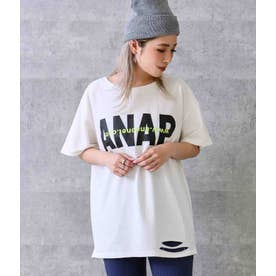 ANAPロゴダメージミニ裏毛Tシャツ(ホワイト)