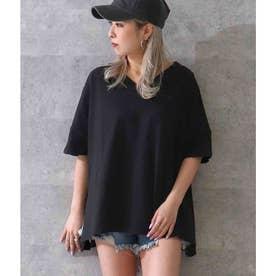 ネックデザインビッグTシャツ(ブラック)
