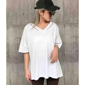ネックデザインビッグTシャツ(ホワイト)