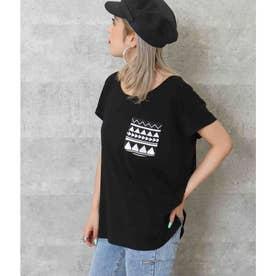 柄ポケットTシャツ(ブラック)