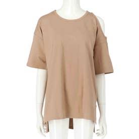オープンショルダーTシャツ(ベージュ)