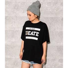 フロントプリントスリットTシャツ(ブラック)