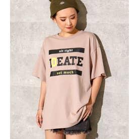 フロントプリントスリットTシャツ(ベージュ)
