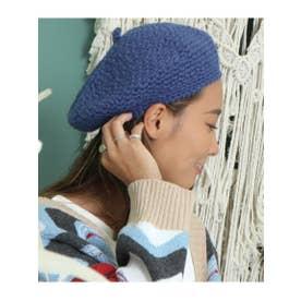 ニットベレー帽 (ブルー(019))