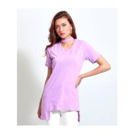 【anapLatina】チョーカーカットデザインヘムTシャツ (パープル(022))