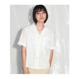 【Alluge】キャンブリック後ろ刺繍開襟ブラウス (オフホワイト(002))