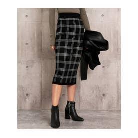 チェックニットタイトスカート (ブラック(027))