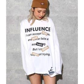 フロントプリントダメージロングTシャツ(ホワイト)