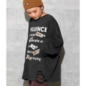 フロントプリントダメージロングTシャツ(ブラック)