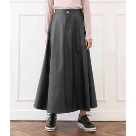 CHILLE レザー風フレアロングスカート(ブラック)