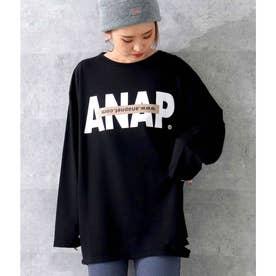 ANAPロゴミニ裏毛ロングTシャツ(ブラック)