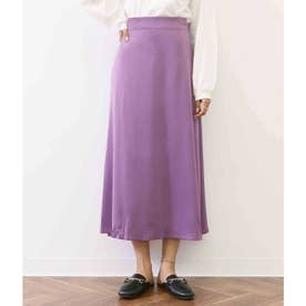 厚地サテンAラインフレアスカート (パープル(022))