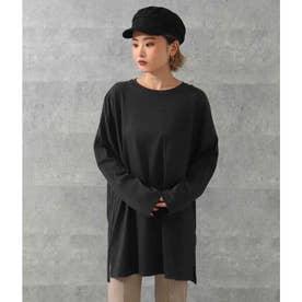 オーバーサイズシンプルロングTシャツ(ブラック)