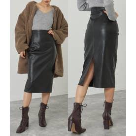 フェイクレザーバックスリットスカート(ブラック)