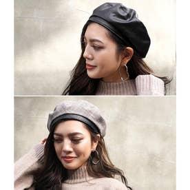 リバーシブルベレー帽(ブラック/ベージュ)