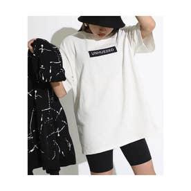 ユニセックスヘビーウェイトボックスロゴ刺繍Tシャツ(ホワイト)