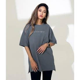 刺繍オーバーサイズTシャツ(ダークグレー)