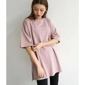 刺繍オーバーサイズTシャツ(ピンク)