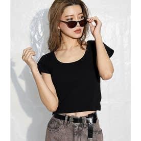 クロップドタイトTシャツ(ブラック)