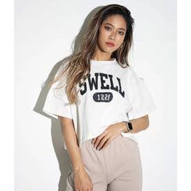カレッジプリントクロップドTシャツ(オフホワイト)