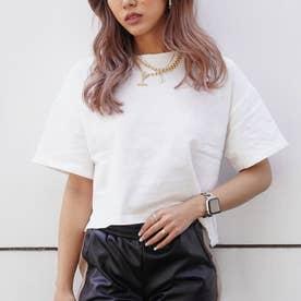 サイドスリットクロップドTシャツ(ホワイト)