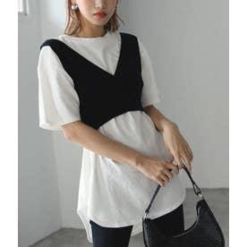 ラウンドヘムTシャツ+ニットビスチェセット(ホワイト)