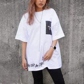 プリントロールアップオーバーサイズTシャツ(オフホワイト)