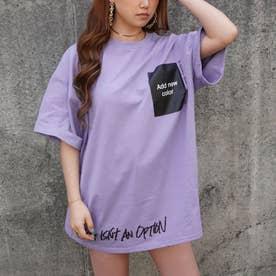 プリントロールアップオーバーサイズTシャツ(パープル)