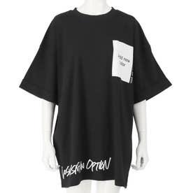 プリントロールアップオーバーサイズTシャツ(ブラック)