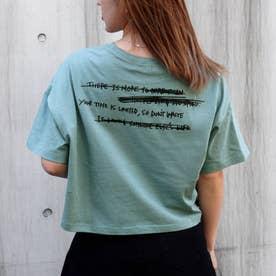 プリントクロップドダメージTシャツ(グリーン)