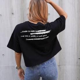 プリントクロップドダメージTシャツ(ブラック)