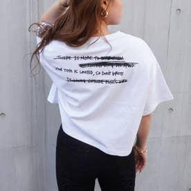 プリントクロップドダメージTシャツ(ホワイト)