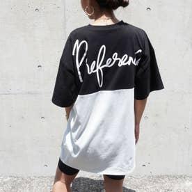 バイカラープリントビッグTシャツ(ブラック)