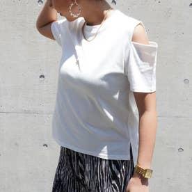 オープンショルダーTシャツ(オフホワイト)
