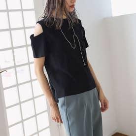 オープンショルダーTシャツ(ブラック)