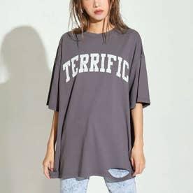 カレッジロゴダメージビッグTシャツ(アッシュブラック)