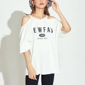 オープンショルダープリントTシャツ(オフホワイト)