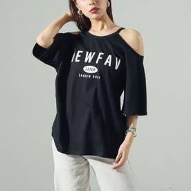 オープンショルダープリントTシャツ(ブラック)